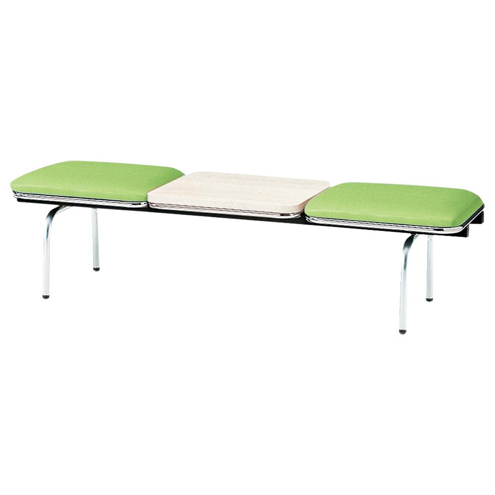 2人掛けロビーラウンジチェア テーブル付き W1510 D500 H410 グリーン 受付 ロビー ロビーチェア ベンチ チェア ベンチ スツール ダイニングベンチ クリニック