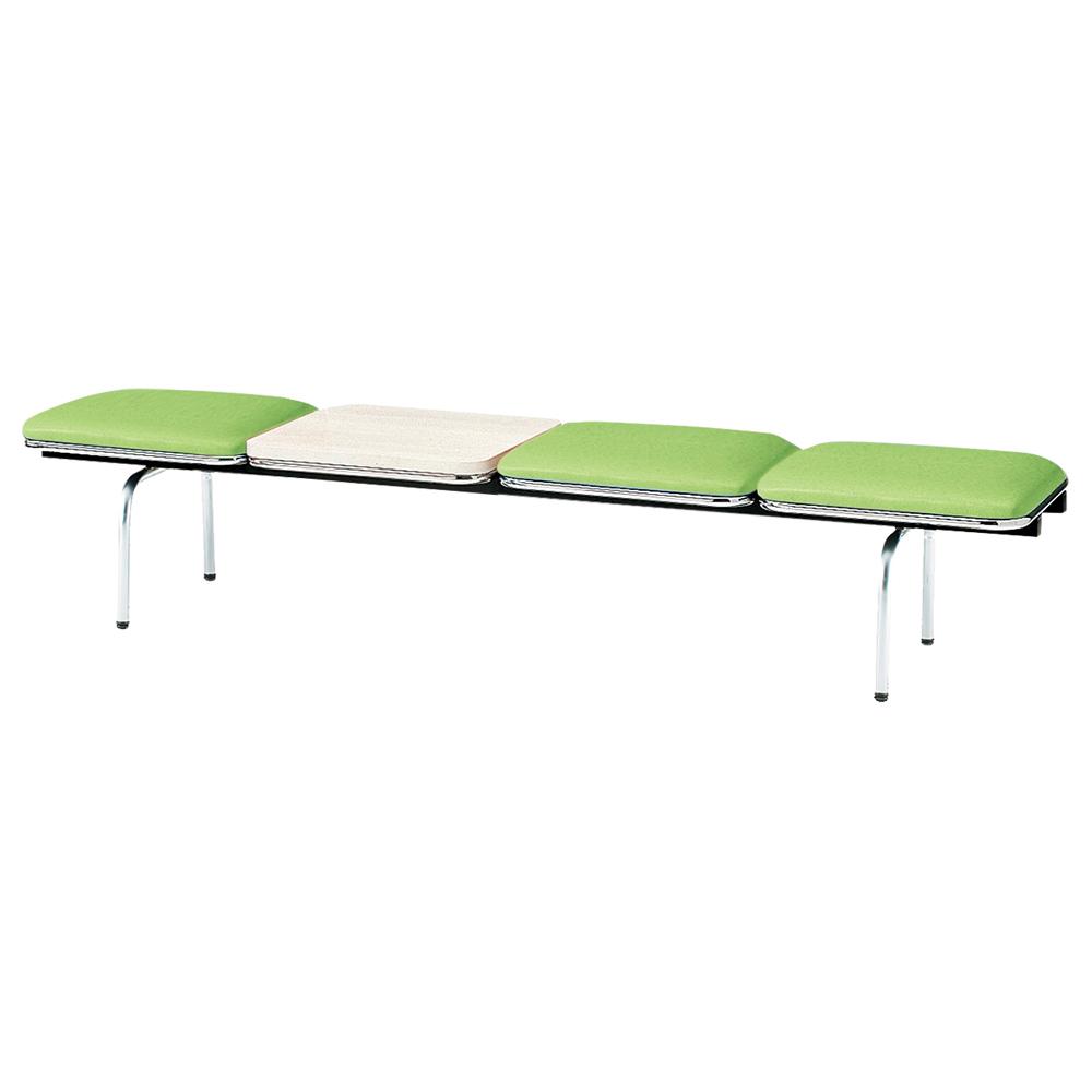 3人掛けロビーラウンジチェア テーブル付き W2015 D500 H410 グリーン 受付 ロビー ロビーチェア ベンチ チェア ベンチ スツール ダイニングベンチ クリニック