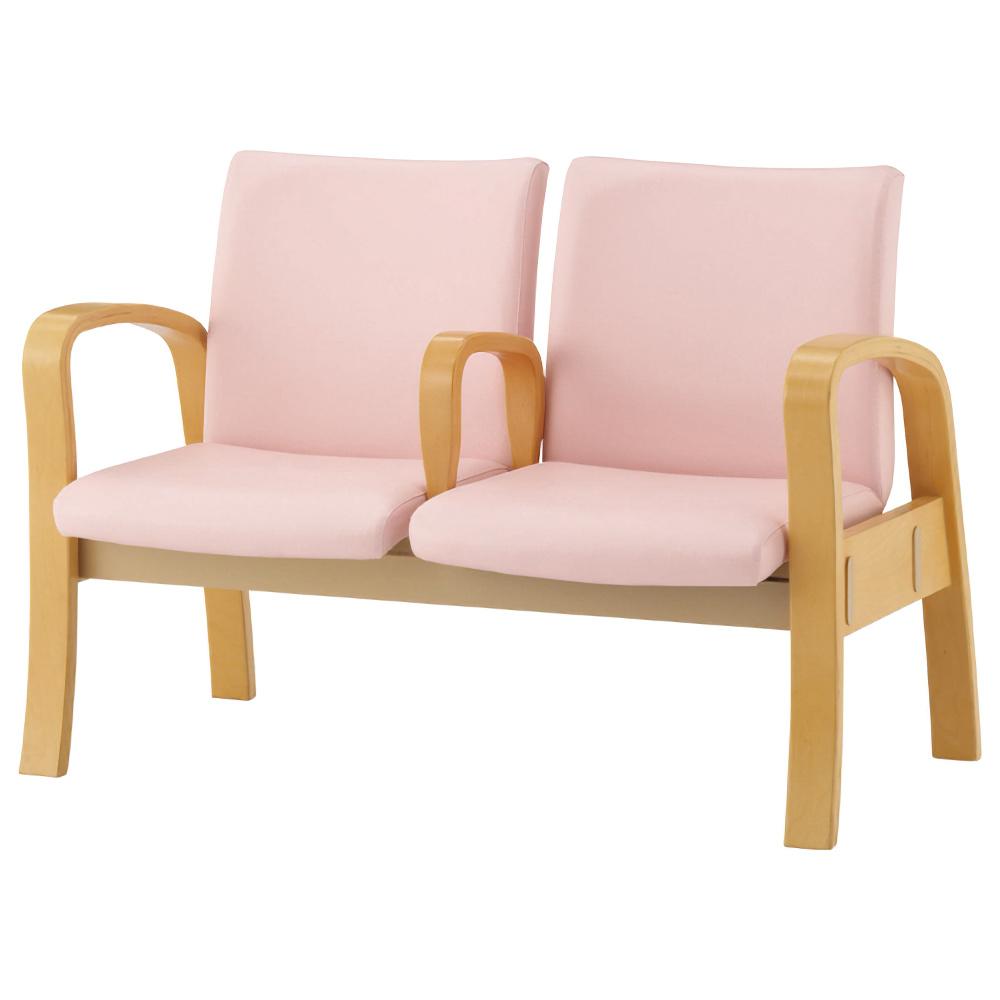 2人用ロビーチェア W1130×D645×H780・810mm ピンク エントランスチェア ビニールレザー 2段階座高 オフィス家具