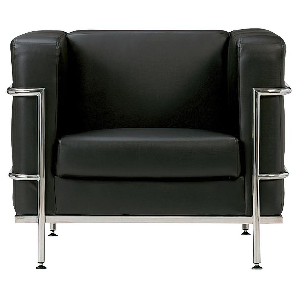 ゴーン アームチェア W900×D820×H725mm ブラック ビニールレザー張り 応接家具 レセプション オフィス家具