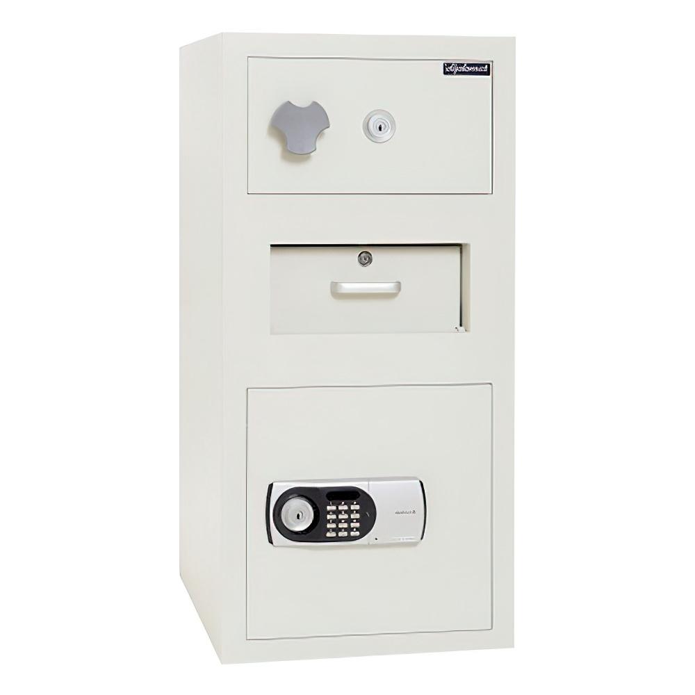 オフィス用テンキー式 2段型投入金庫 上45.2L・下119.8L W428 D508 H890 ホワイト セキュリティー 金庫 投入式金庫