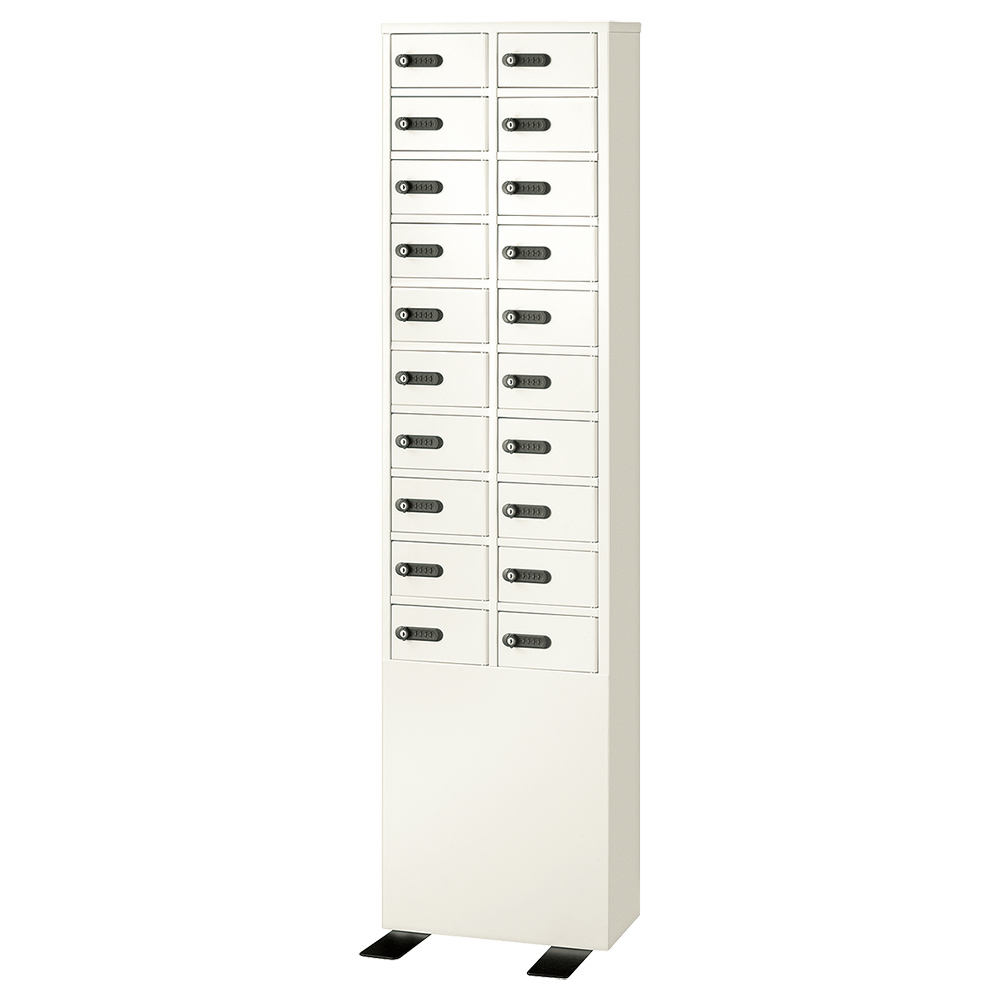 オフィス用ダイヤル式 2列10段20人用貴重品ロッカー W417 D200/D320 H1648  ホワイト