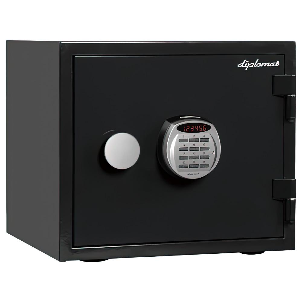 オフィス用デジタルテンキー式 耐火・耐水デザイン金庫 19L W412 D397 H360  ブラック