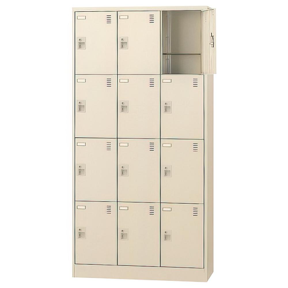 錠付きシューズロッカー 3列4段12人用 W900×D380×H1790mm 下足入れ シューズボックス スチール オフィス家具