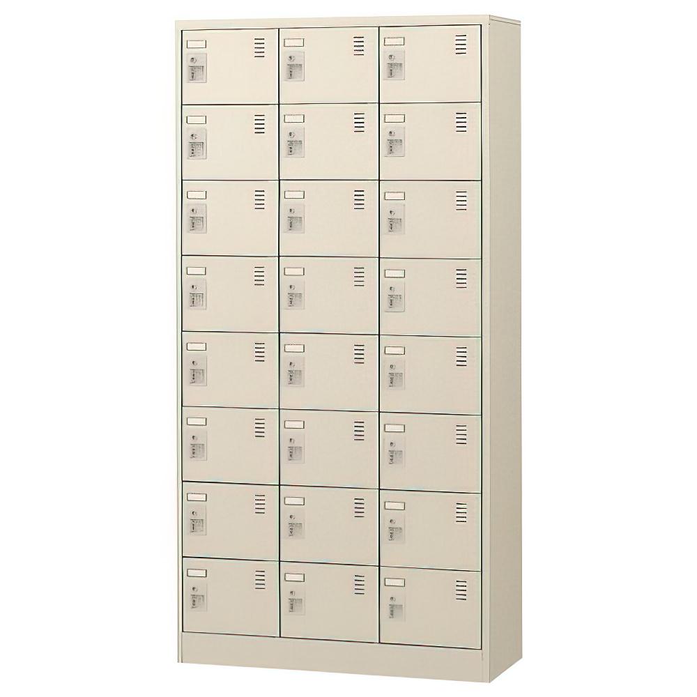 オフィス用錠付きシューズロッカー 3列8段24人用 W900 D380 H1790  ニューグレー