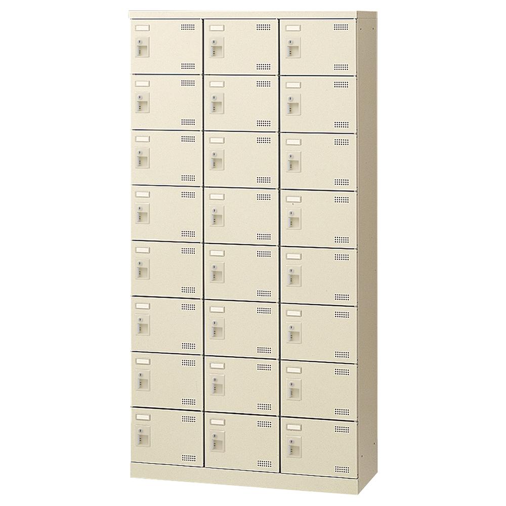 オフィス用錠付きシューズロッカー Bタイプ 3列8段24人用 W900 D350 H1800  ニューグレー