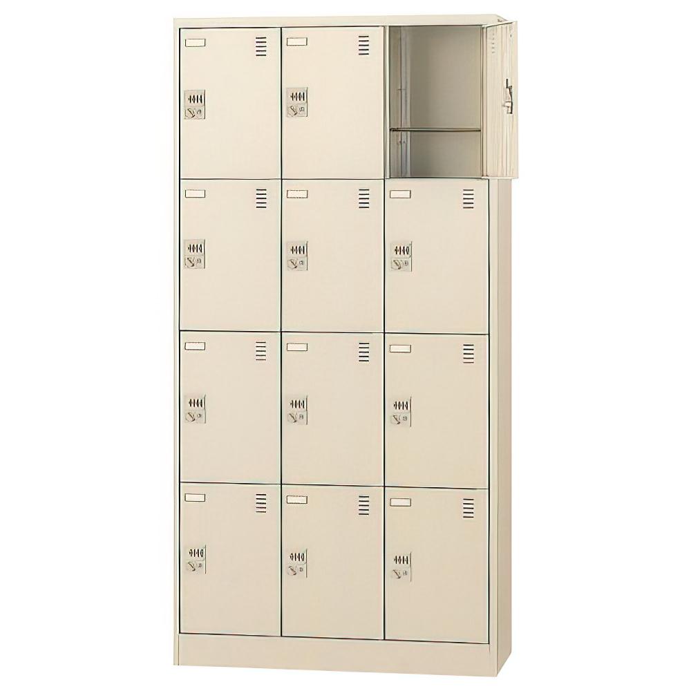ダイヤル錠式シューズロッカー 3列4段12人用 W900×D380×H1790mm 下足入れ シューズボックス スチール オフィス家具