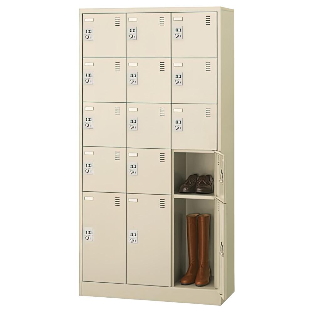ダイヤル錠式シューズロッカー 3列5段15人用 W900×D380×H1790mm 下足入れ シューズボックス スチール オフィス家具
