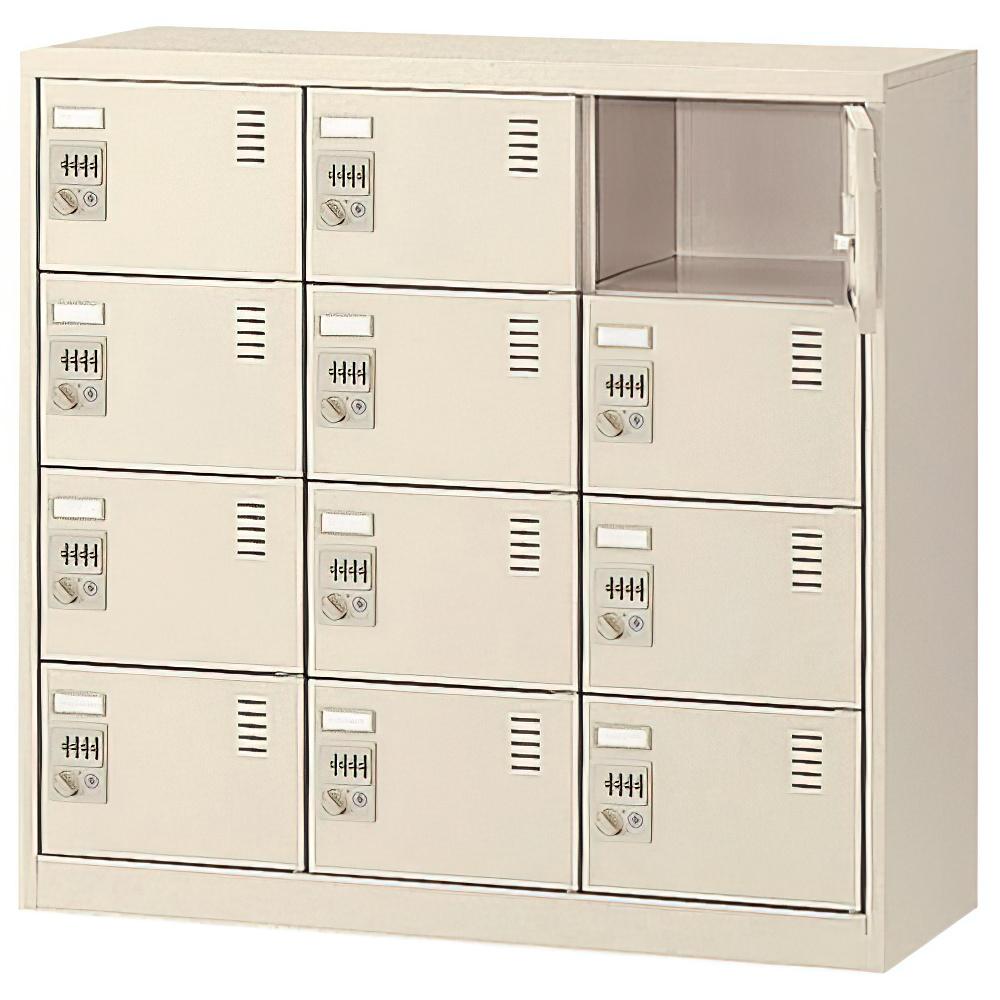 ダイヤル錠式シューズロッカー 3列4段12人用 W900×D380×H880mm 下足入れ シューズボックス スチール オフィス家具