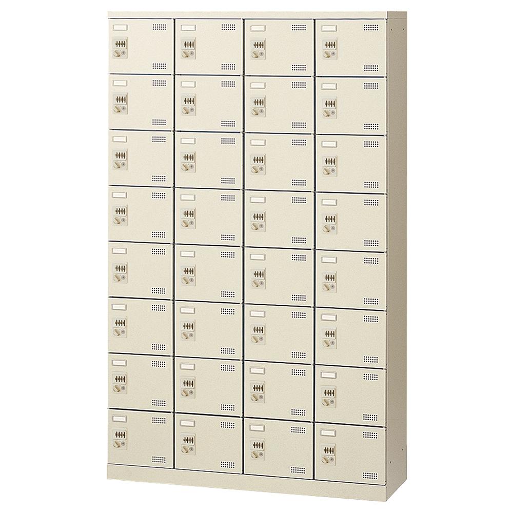 オフィス用ダイヤル錠式シューズロッカー Bタイプ 4列8段32人用 W1100 D350 H1800 ニューグレー 収納家具 シューズボックス ダイヤル錠