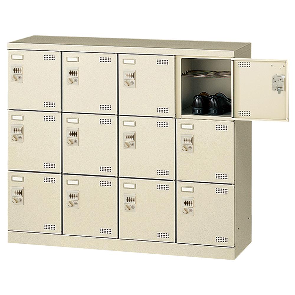 オフィス用ダイヤル錠式シューズロッカー Bタイプ 4列3段12人用 W1100 D350 H945 ニューグレー 収納家具 シューズボックス ダイヤル錠
