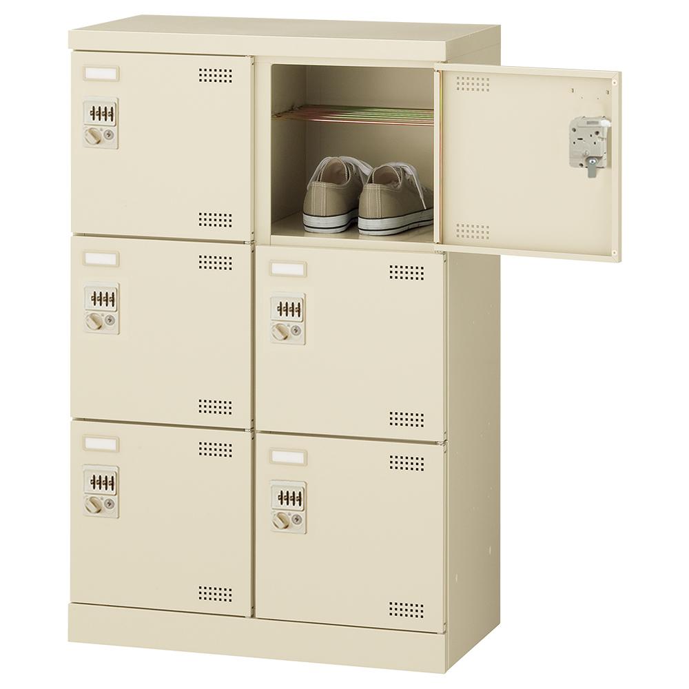 オフィス用ダイヤル錠式シューズロッカー Bタイプ 2列3段6人用 W600 D350 H945 ニューグレー 収納家具 シューズボックス ダイヤル錠