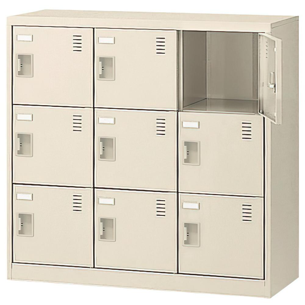 オフィス用扉付きシューズロッカー 3列3段9人用 錠無し W900 D380 H880 ニューグレー 収納家具 シューズボックス 扉付(鍵なし)