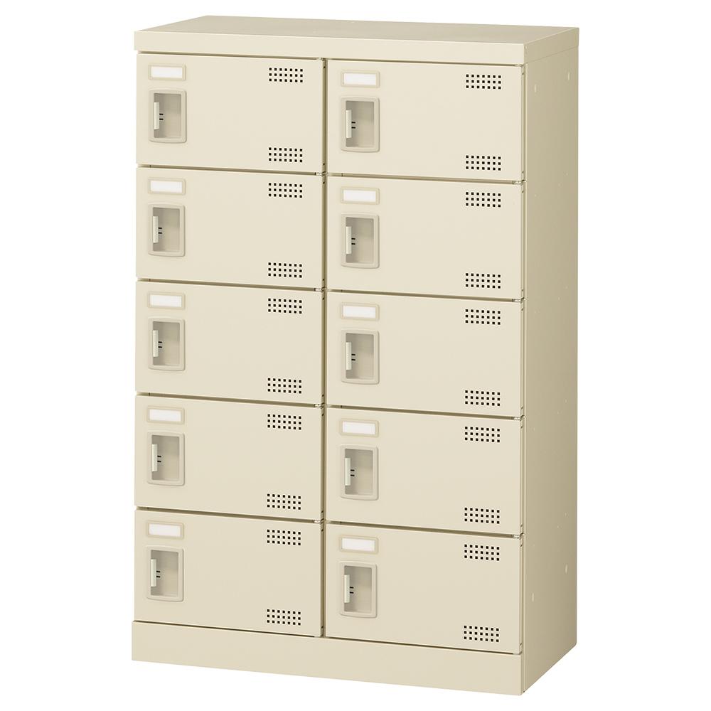 オフィス用扉付きシューズロッカー Bタイプ 2列5段10人用 錠無し W600 D350 H945 ニューグレー 収納家具 シューズボックス 扉付(鍵なし)