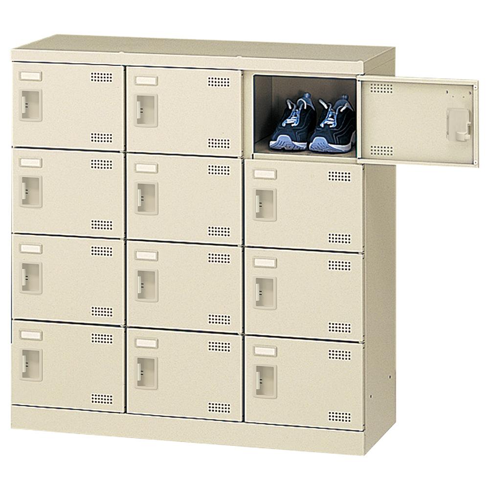 オフィス用扉付きシューズロッカー Bタイプ 3列4段12人用 錠無し W900 D350 H945 ニューグレー 収納家具 シューズボックス 扉付(鍵なし)