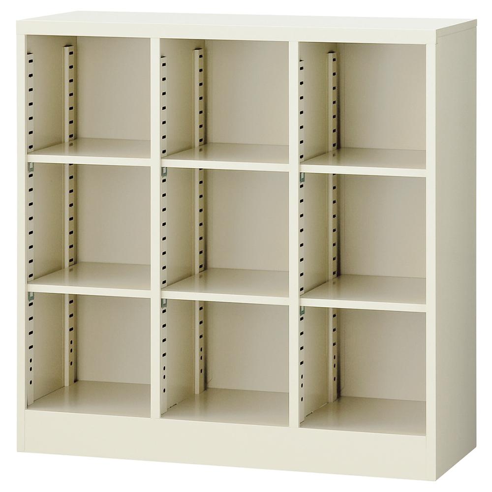 オフィス用オープン可動棚収納ボックス 3列4段12人用 W900 D350 H1200  ニューグレー