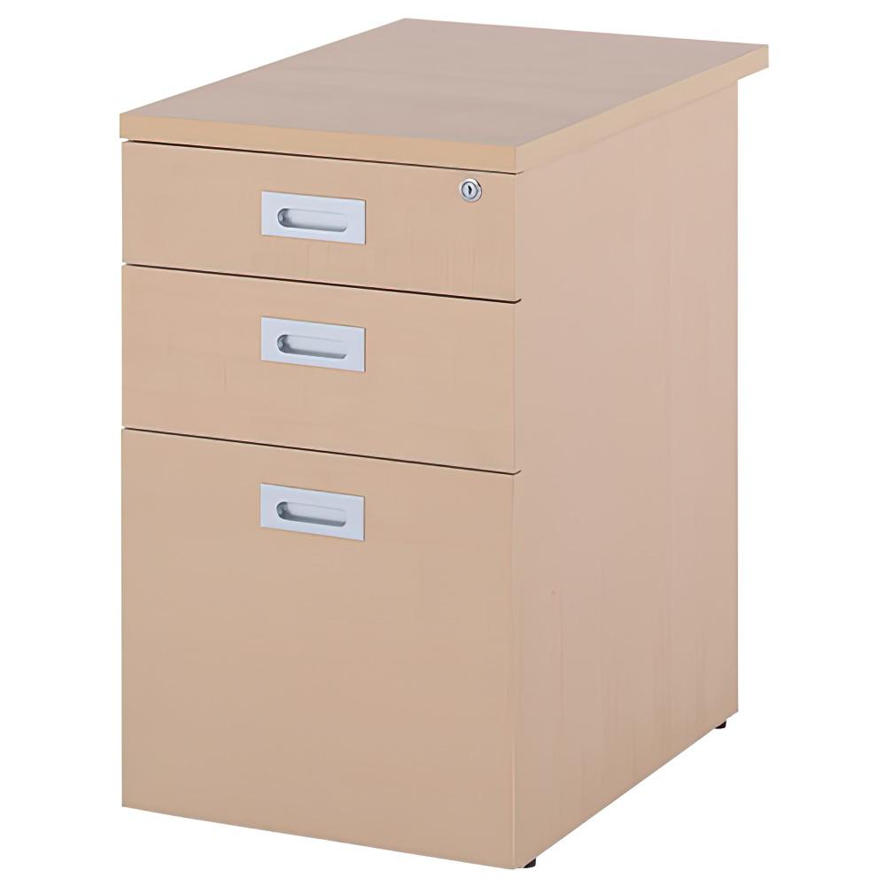 ノルム 3段脇机 W420×D600×H700mm ナチュラル サイドワゴン 木製 サイドキャビネット 木目 オフィス家具