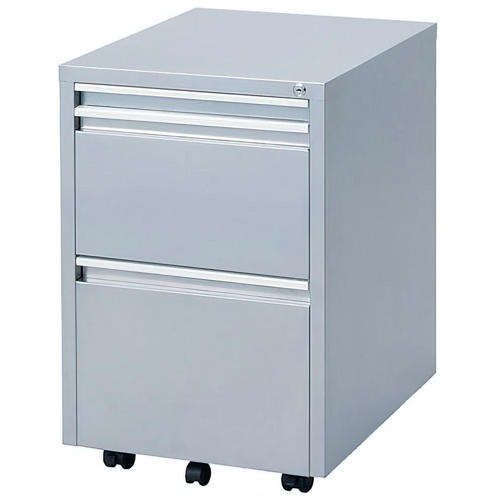 スライドテーブルワゴン W400×D510-910×H615mm シルバー スライドテーブルキャビネット インサイドワゴン オフィス家具
