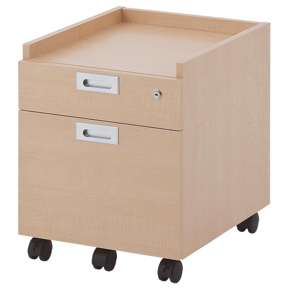 ノルム 2段ワゴン W420×D500×H520mm ナチュラル インサイドワゴン 木製 サイドキャビネット 木目 オフィス家具