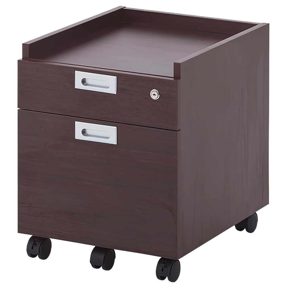 ノルム 2段ワゴン W420×D500×H520mm ダークブラウン インサイドワゴン 木製 サイドキャビネット 木目 オフィス家具