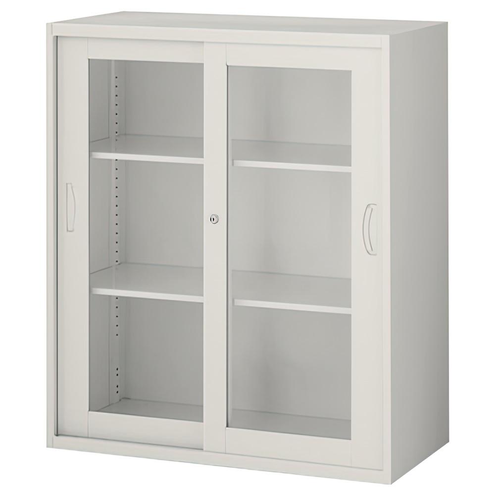 枠付きガラス引戸書庫 ニューグレー W900×D450×H1050mm  システム収納庫 オフィス収納 キャビネット オフィス家具