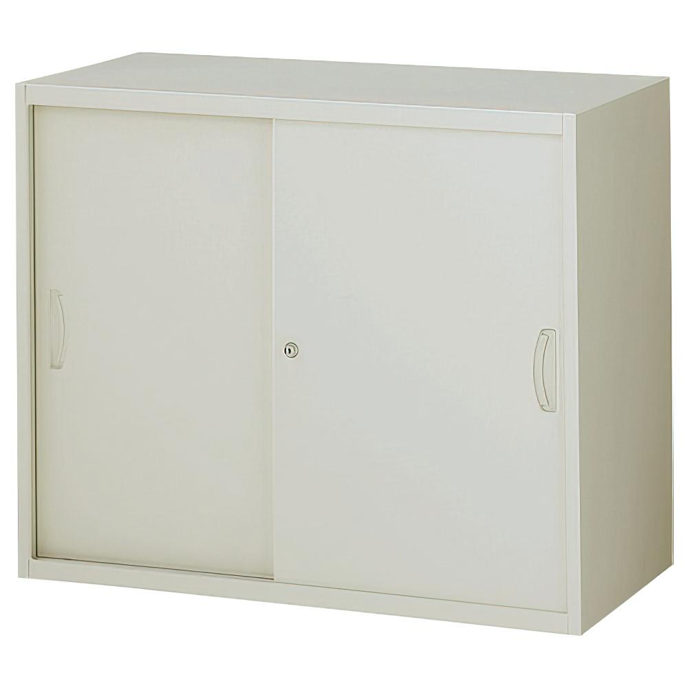 スチール引戸書庫 ニューグレー W900×D450×H750mm システム収納庫 オフィス収納 キャビネット オフィス家具