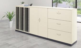 システム収納庫 設置例(KG45-207D:2段ラテラルキャビネット ニューグレー)