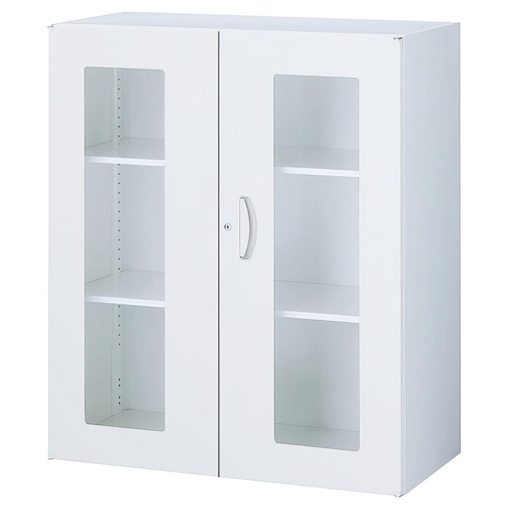 ガラス両開き書庫 ホワイト W900×D450×H1050mm  システム収納庫 オフィス収納 キャビネット オフィス家具