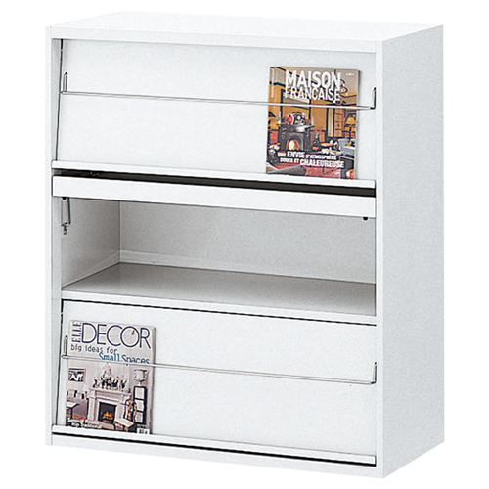 スチール雑誌架 ホワイト W900×D450×H1050mm ホワイト マガジンラック カタログスタンド パンフレットスタンド オフィス家具