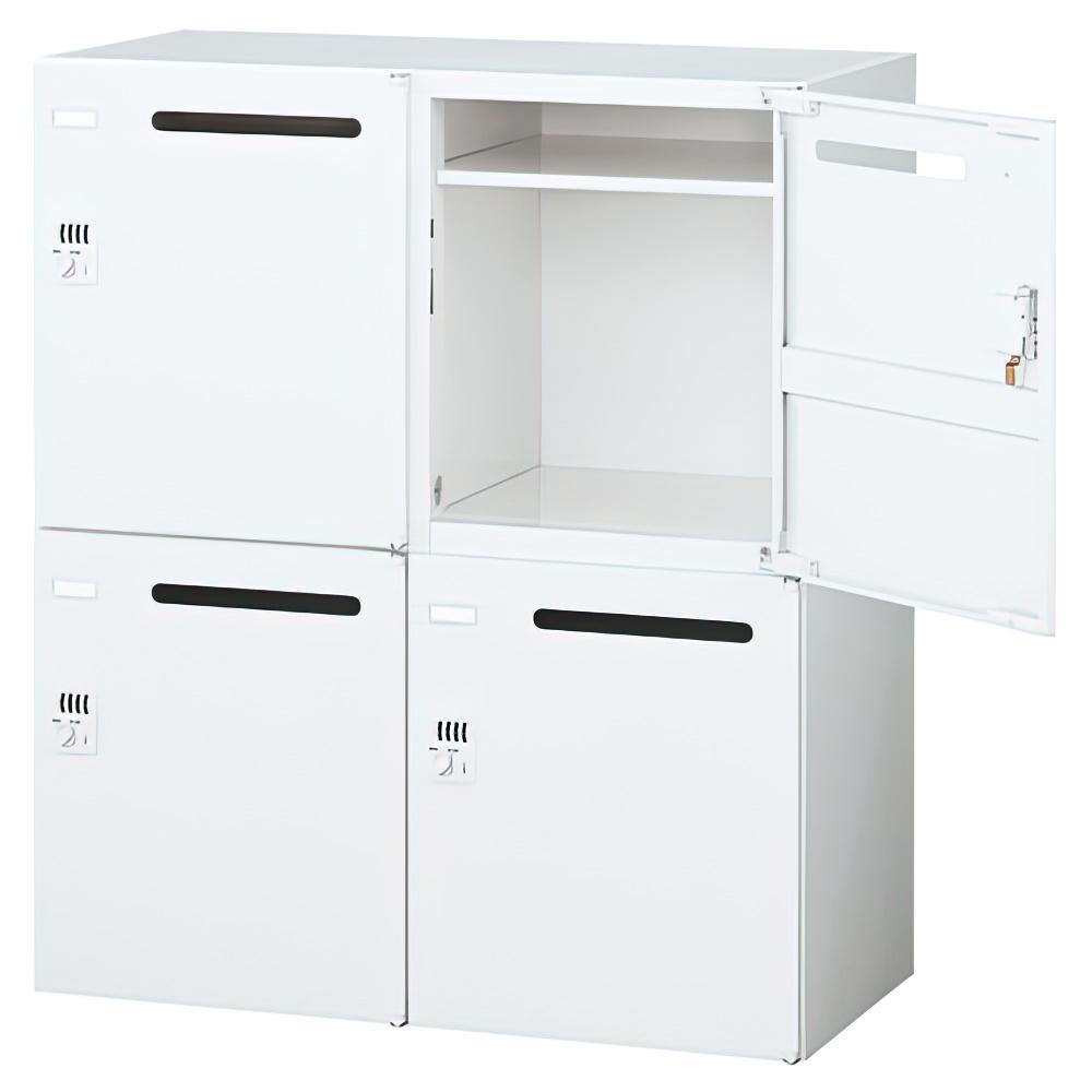 4人用ダイヤル錠式メールボックス W900×D450×H1050mm  ホワイト システム収納庫 オフィス収納 キャビネット オフィス家具
