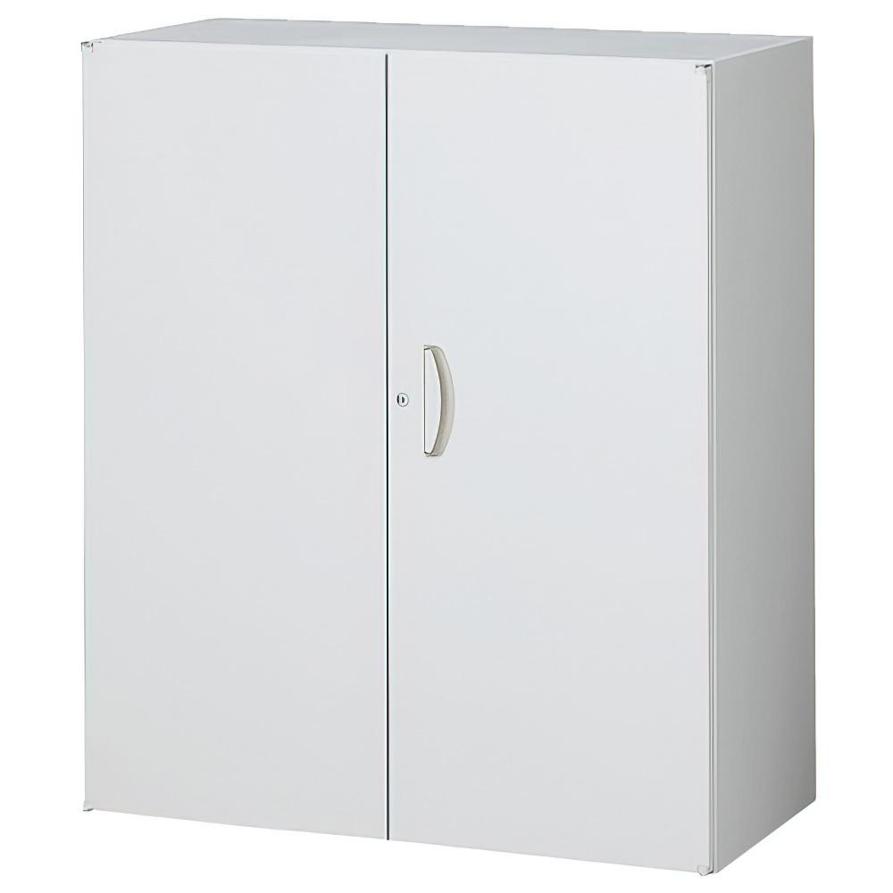 両開き書庫 ホワイト W900×D450×H1050mm システム収納庫 オフィス収納 キャビネット オフィス家具