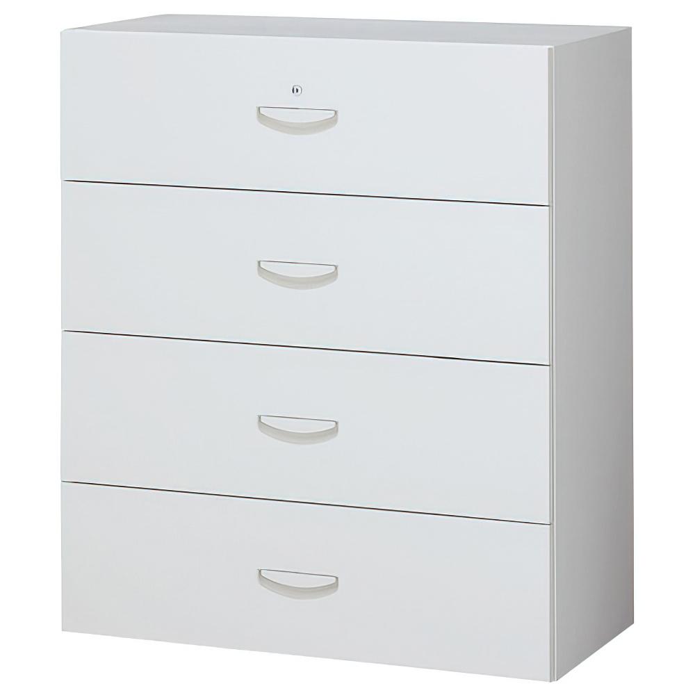 4段ラテラルキャビネット ホワイト W900×D450×H1050mm システム収納庫 オフィス収納 キャビネット オフィス家具