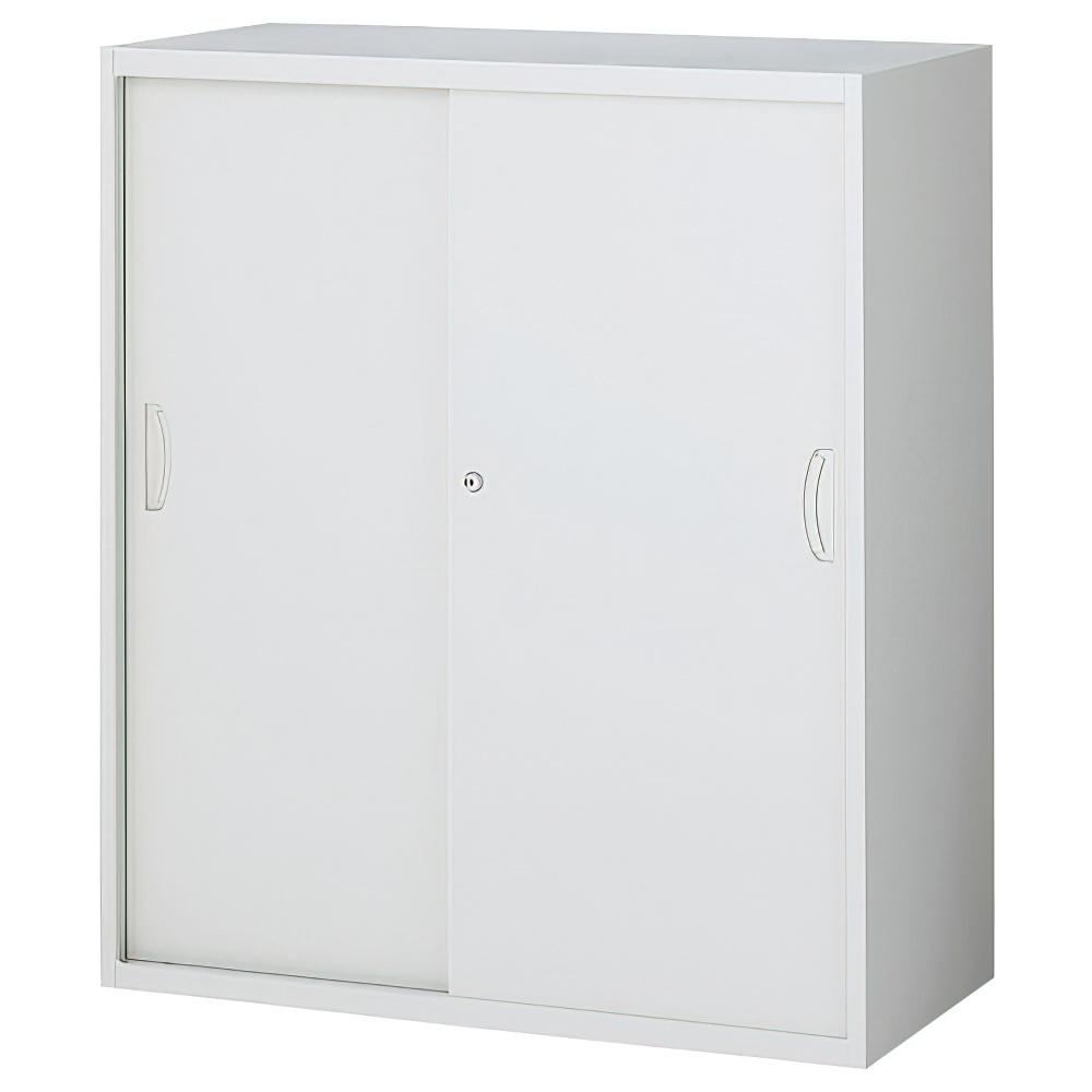 スチール引戸書庫 ホワイト W900×D450×H1050mm システム収納庫 オフィス収納 キャビネット オフィス家具