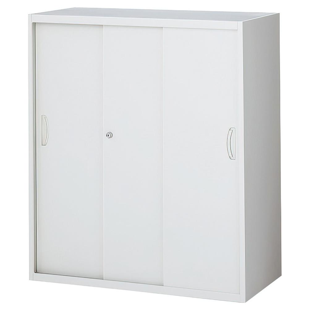 スチール3枚引戸書庫 ホワイト W900×D450×H1050mm システム収納庫 オフィス収納 キャビネット オフィス家具