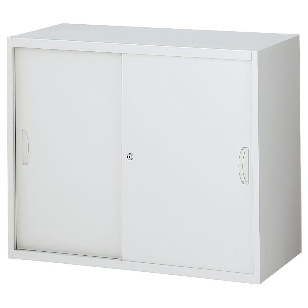 スチール引戸書庫 ホワイト W900×D450×H750mm システム収納庫 オフィス収納 キャビネット オフィス家具