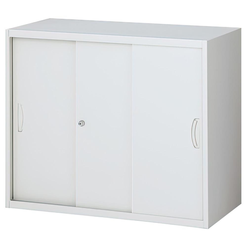 スチール3枚引戸書庫 ホワイト W900×D450×H750mm システム収納庫 オフィス収納 キャビネット オフィス家具