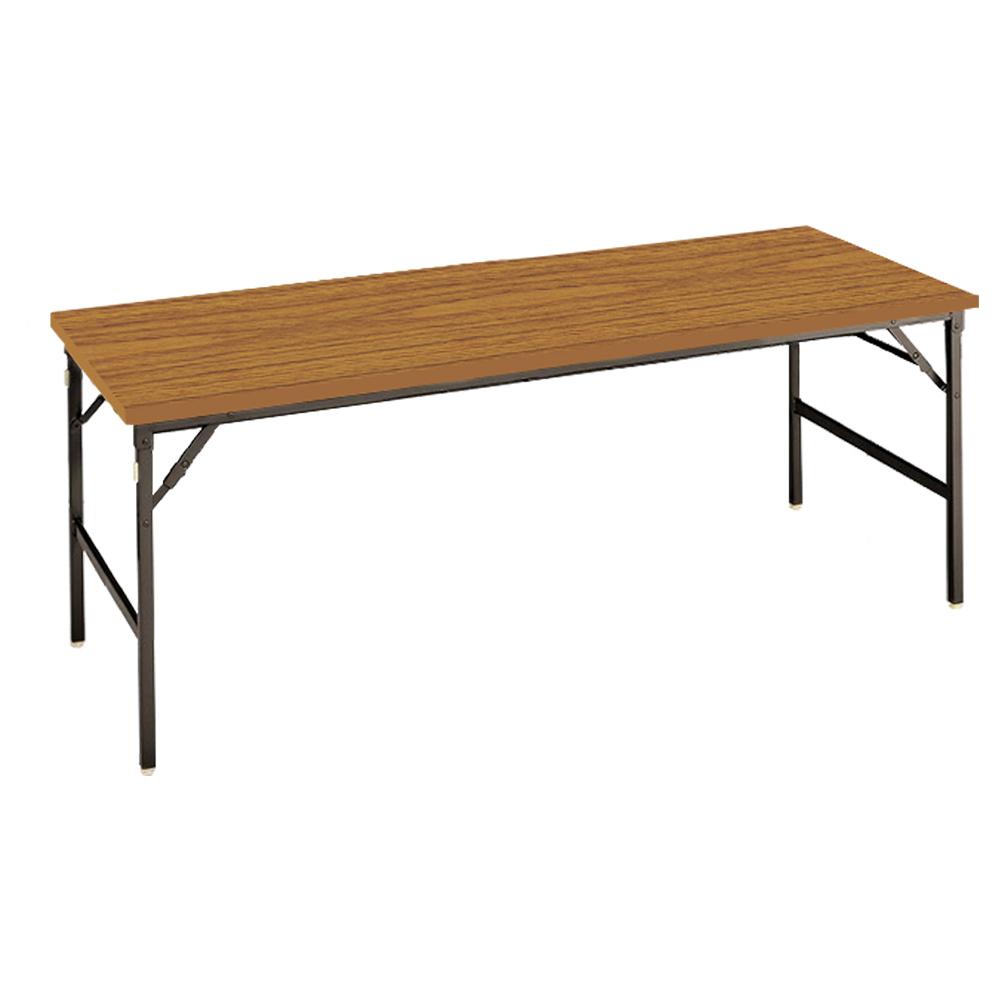 オフィス用クランク式折畳テーブル W1800 D750 H700  チーク