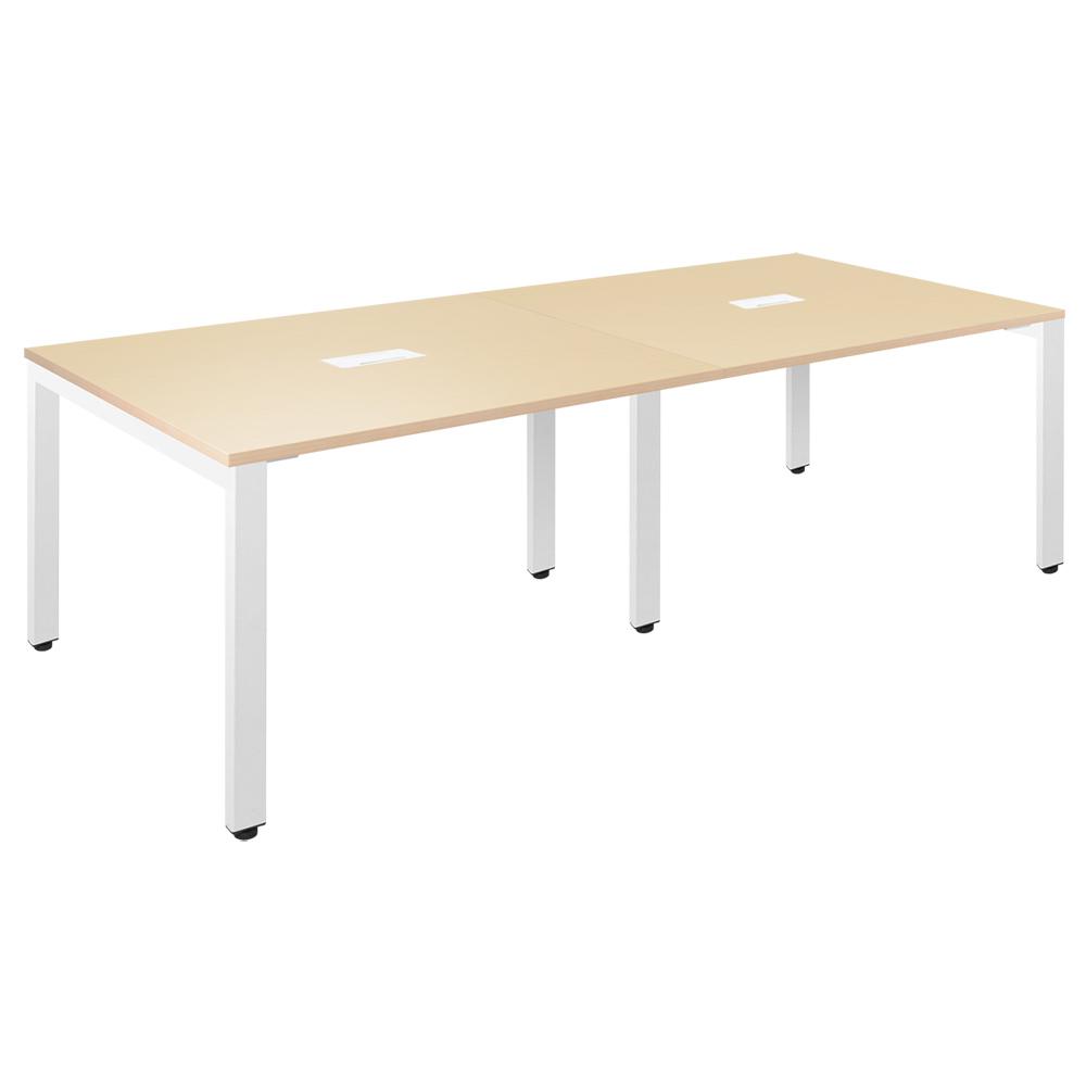 フリーアドレステーブル W2400×D1200×H720mm 会議机 グループデスク ナチュラル フリーアドレスデスク オフィス家具