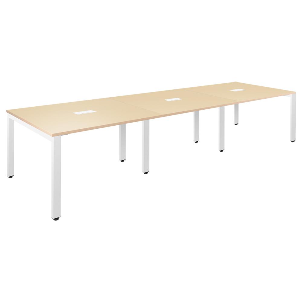 フリーアドレステーブル W3600×D1200×H720mm 会議机 グループデスク ナチュラル フリーアドレスデスク オフィス家具