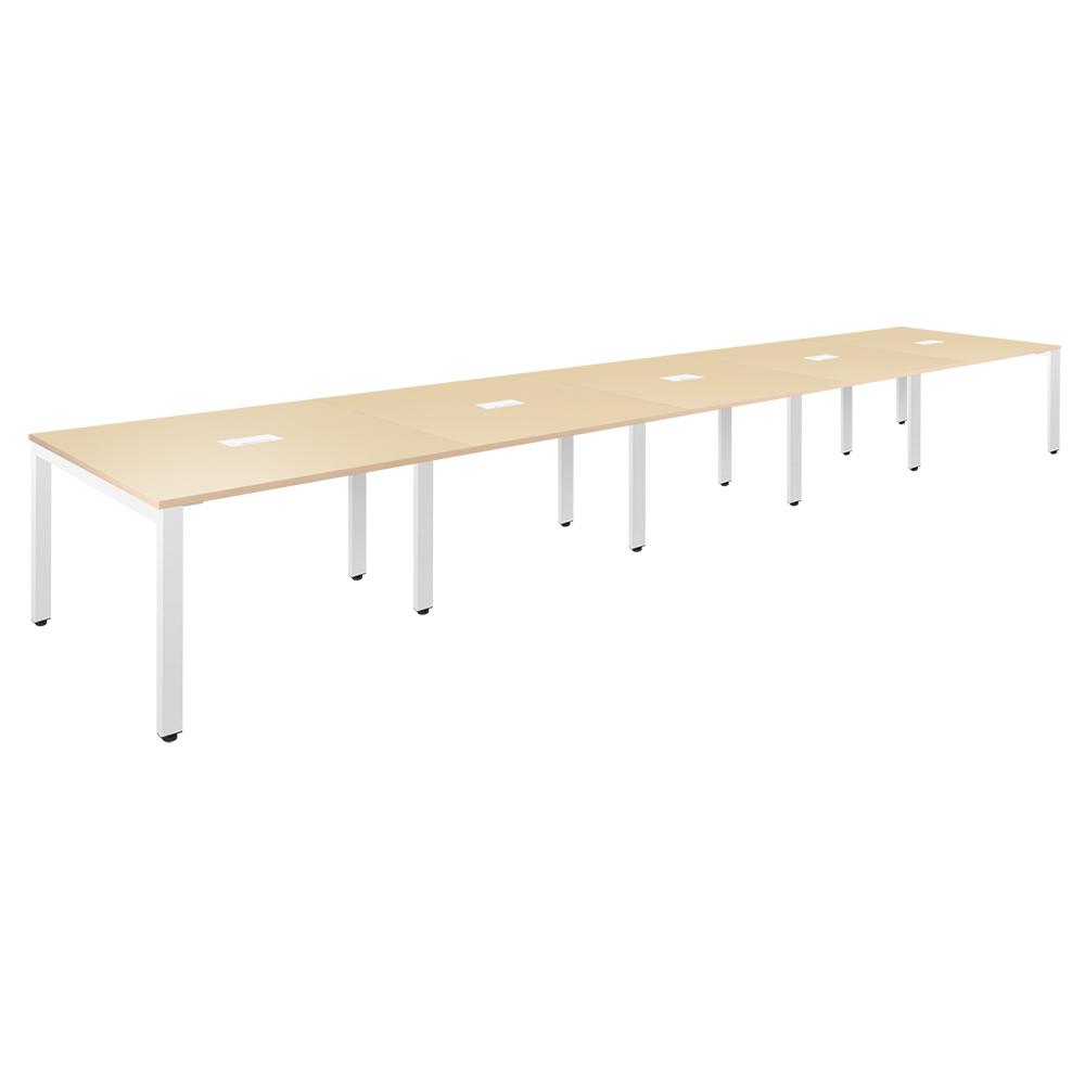 フリーアドレステーブル W6000×D1200×H720mm 会議机 グループデスク ナチュラル フリーアドレスデスク オフィス家具