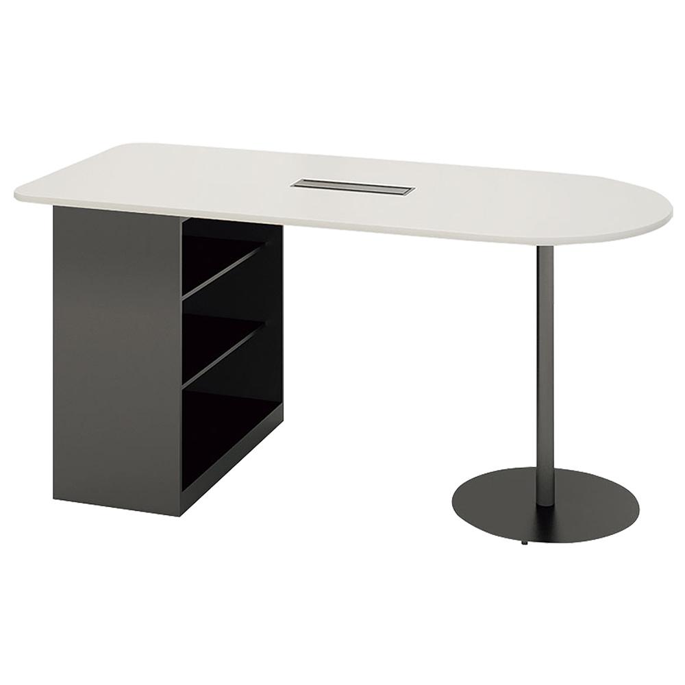 収納庫付きカウンターテーブル W2100 D904 H976 ホワイト テーブル 用途別ワークテーブル ハイテーブル オフィス家具 オフィステーブル 会議用テーブル カフェ