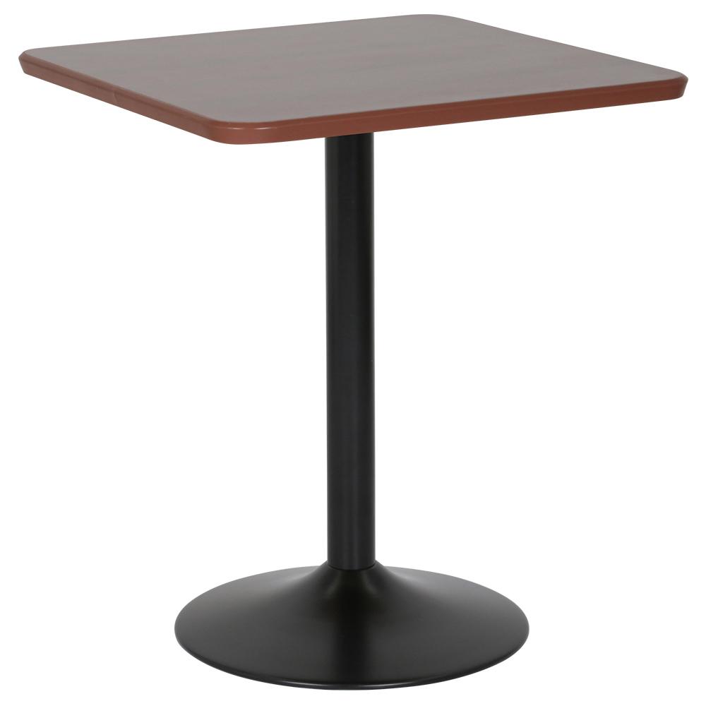 カフェテーブル ブラックアイアン丸脚タイプ W600 D600 H726 ダークブラウン テーブル ラウンジテーブル 角テーブル オフィス家具 オフィステーブル 会議用テー