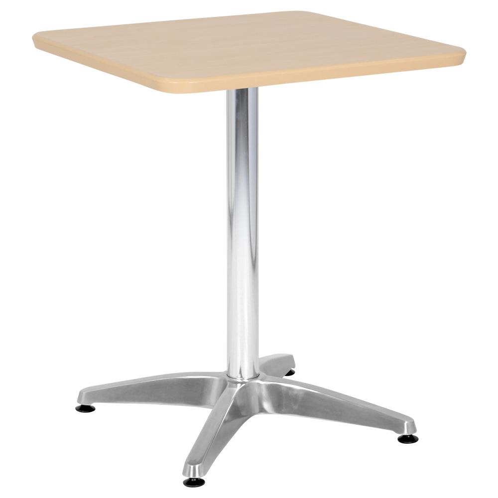 オフィス用カフェテーブル アルミ十字脚タイプ W600 D600 H726  ナチュラル