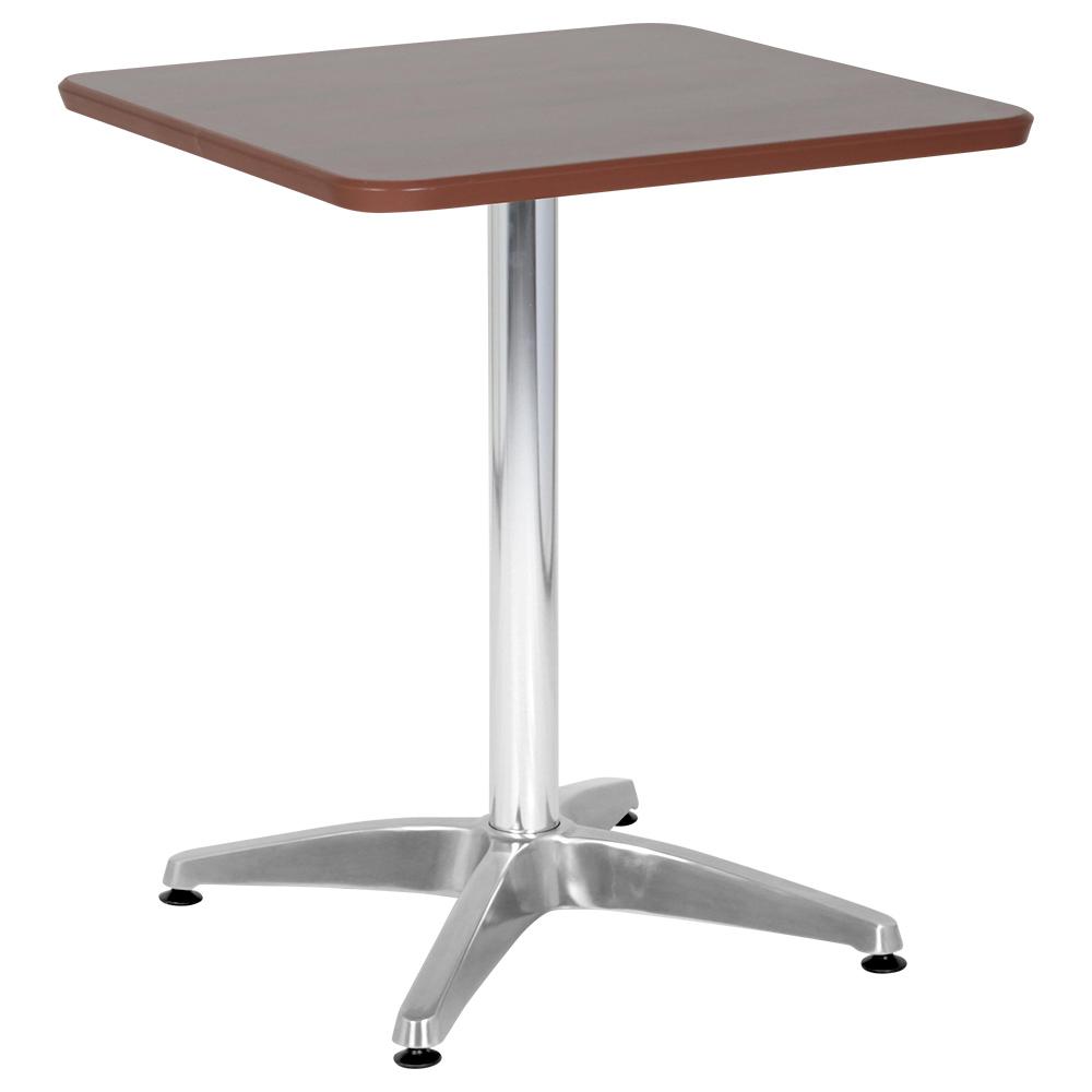 オフィス用カフェテーブル アルミ十字脚タイプ W600 D600 H726  ダークブラウン