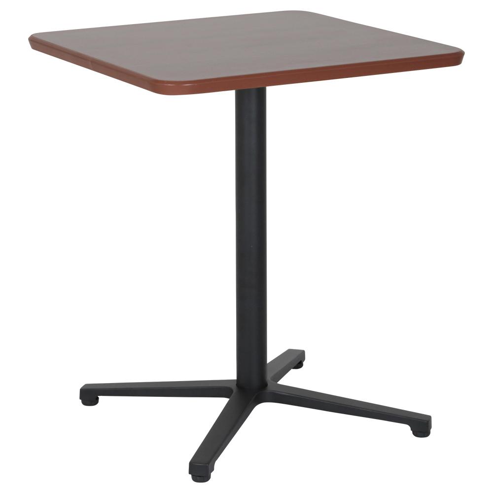 オフィス用カフェテーブル ブラックアルミ十字脚タイプ W600 D600 H726  ダークブラウン