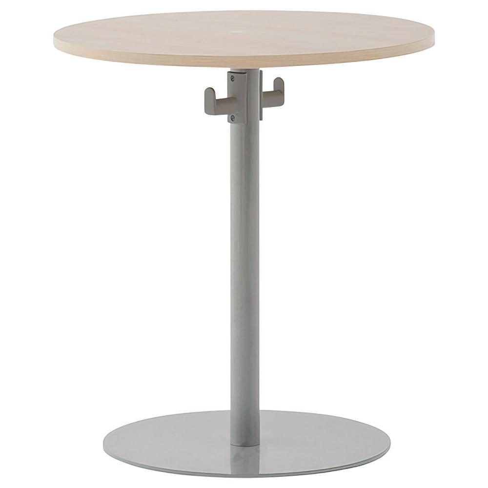 バックハンガー付きリフレッシュテーブルII W600×D600×H700mm ナチュラルF ラウンジテーブル 丸テーブル オフィス家具