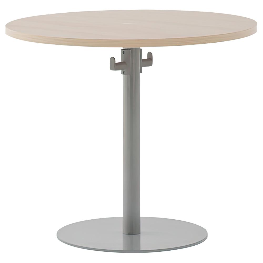 バックハンガー付きリフレッシュテーブル W800×D800×H700mm ナチュラルE ラウンジテーブル 丸テーブル オフィス家具