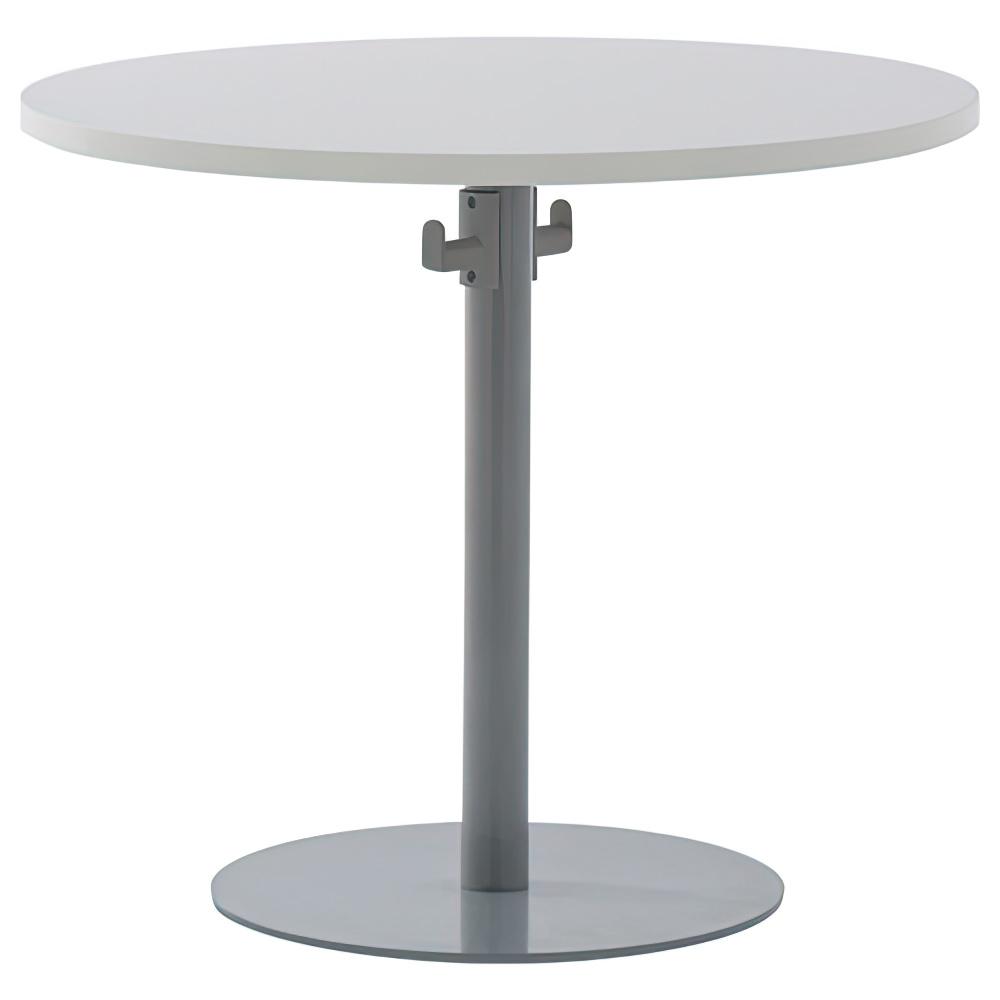 バックハンガー付きリフレッシュテーブル W800×D800×H700mm ホワイトA ラウンジテーブル 丸テーブル オフィス家具