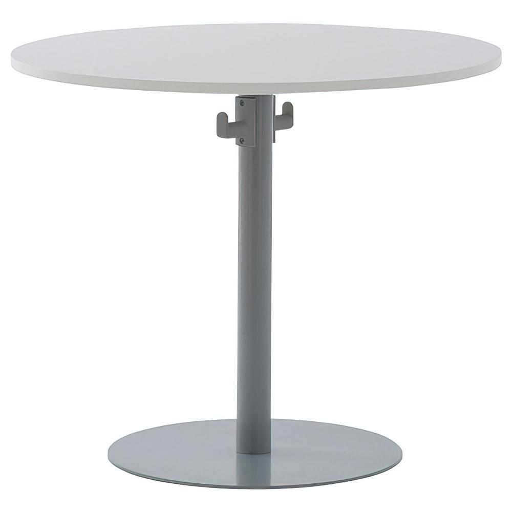バックハンガー付きリフレッシュテーブルII W800×D800×H700mm ホワイトA ラウンジテーブル 丸テーブル オフィス家具