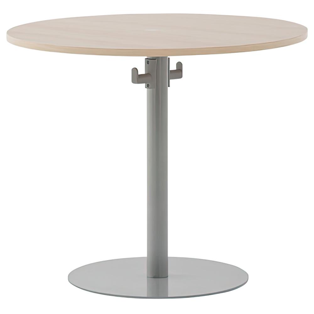バックハンガー付きリフレッシュテーブルII W800×D800×H700mm ナチュラルF ラウンジテーブル 丸テーブル オフィス家具